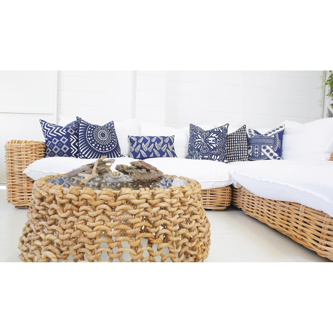 Outdoor Fern Navy Lumber Cushion 35x53cm