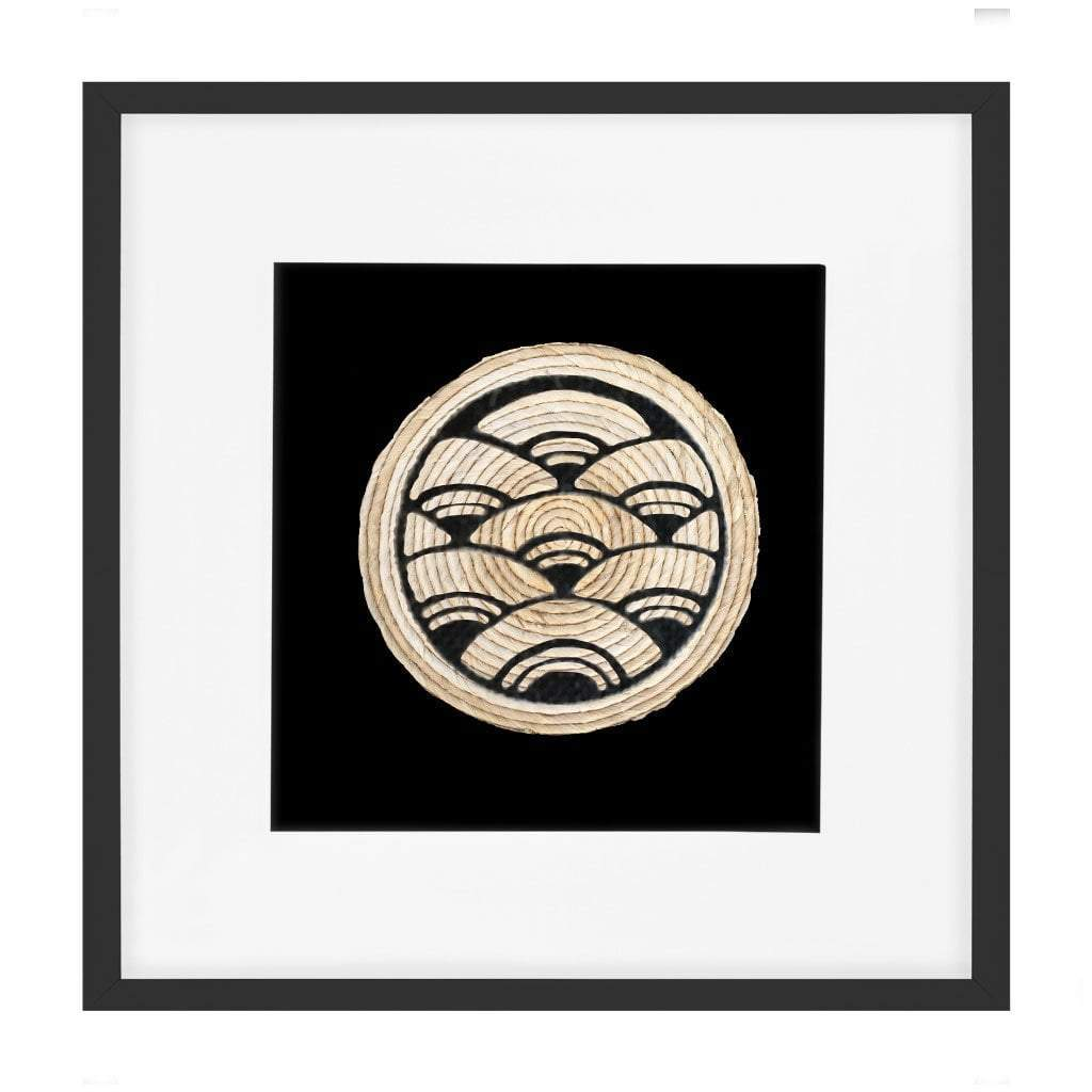 Bandhini Homewear Design Artwork Natural / Primitive / 22 x 22 Place Mat Fan Cluster Black Artwork 52 cm x 52 cm
