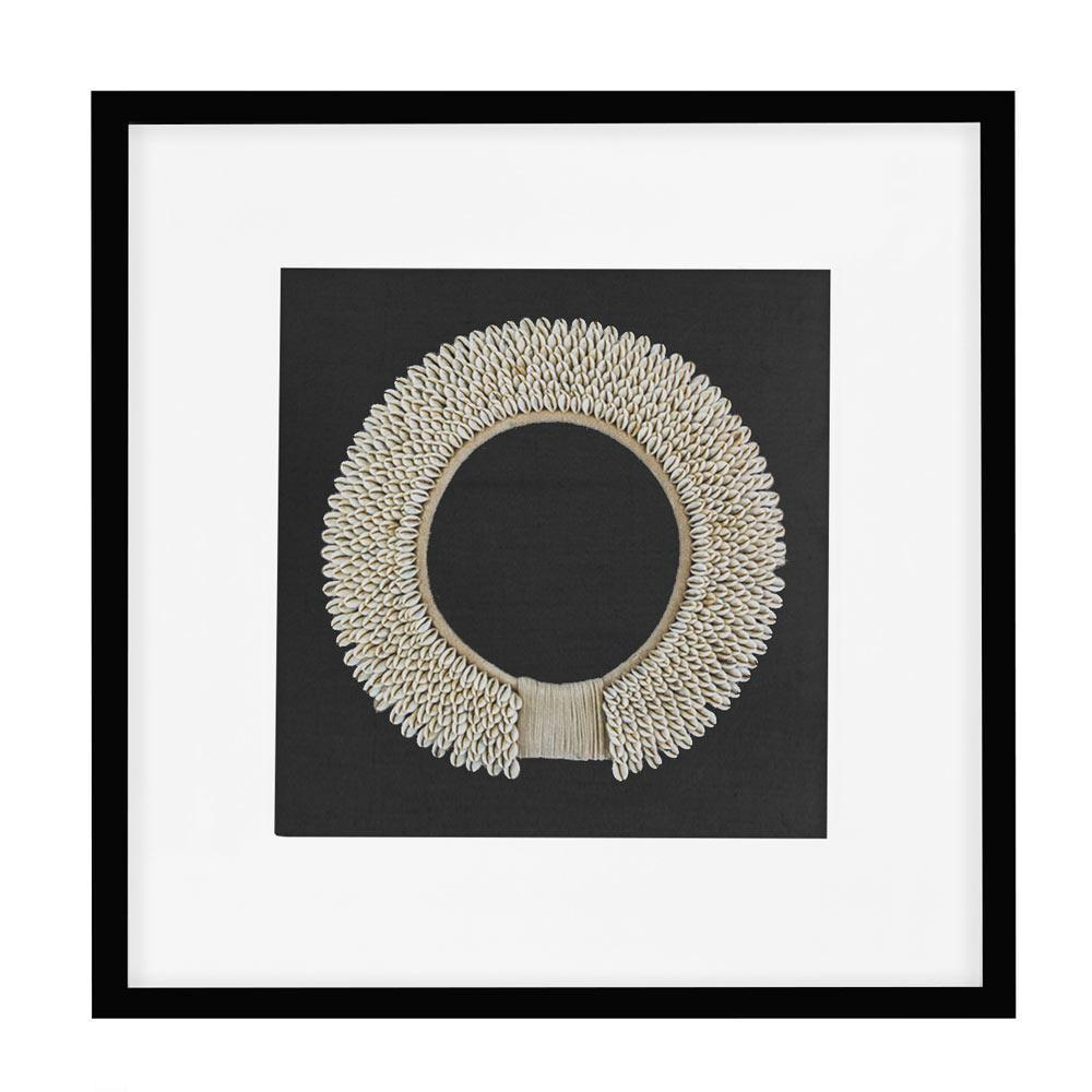 Bandhini Homewear Design Artwork Natural / 22 x 22 Shell Ring Natural on Black