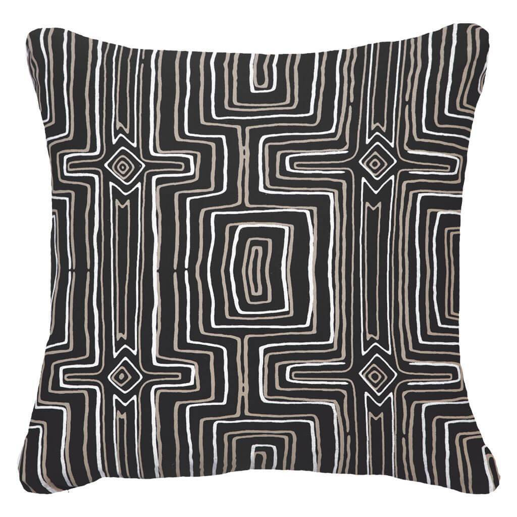 Bandhini Homewear Design Lounge Cushion Black / Exotic Dark / 22 x 22 Dreamtime Black Lounge Cushion 55 x 55 cm