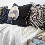 Bandhini Homewear Design Lounge Cushion Black / 22 x 22 Ikat Zebra Black Lounge Cushion 55 x 55 cm