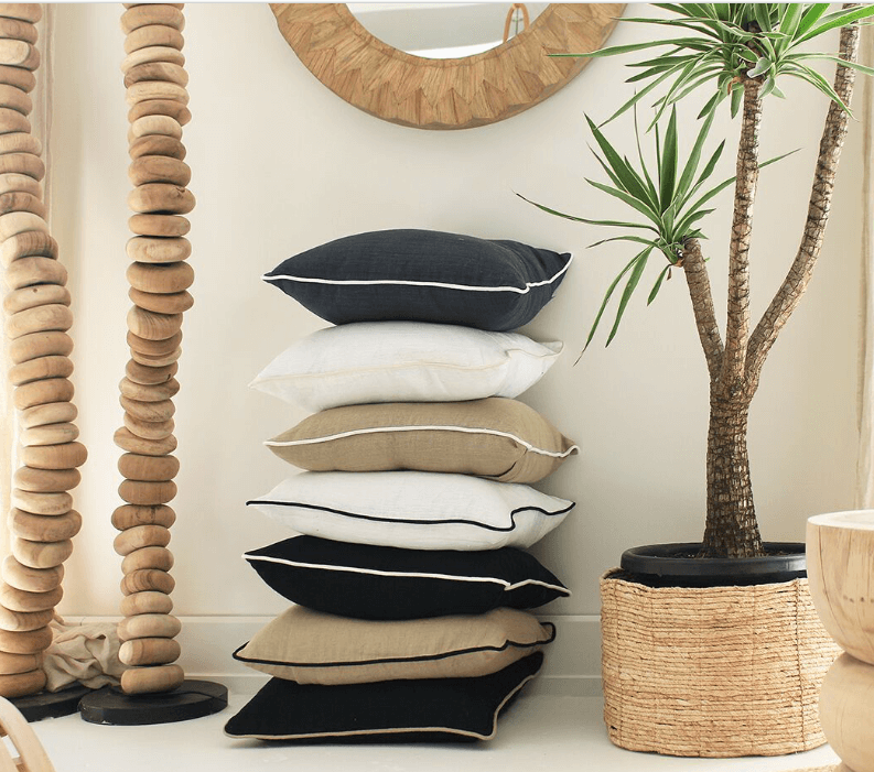 Bandhini Homewear Design Lounge Cushion Black / Palm Springs / 22 x 22 Piped Linen Black with White Lounge Cushion 55 x 55 cm