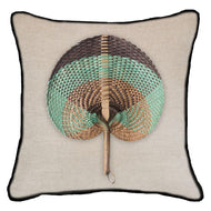 Bandhini Homewear Design Lounge Cushion Natural / Naval Sea / 22 x 22 Fan Sage on Natural Lounge Cushion 55 x 55 cm