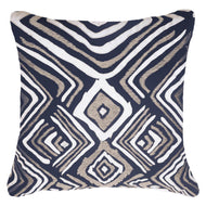 Bandhini Homewear Design Lounge Cushion Navy / Naval Sea / 22 x 22 Ikat Zebra Navy Lounge Cushion 55 x 55cm