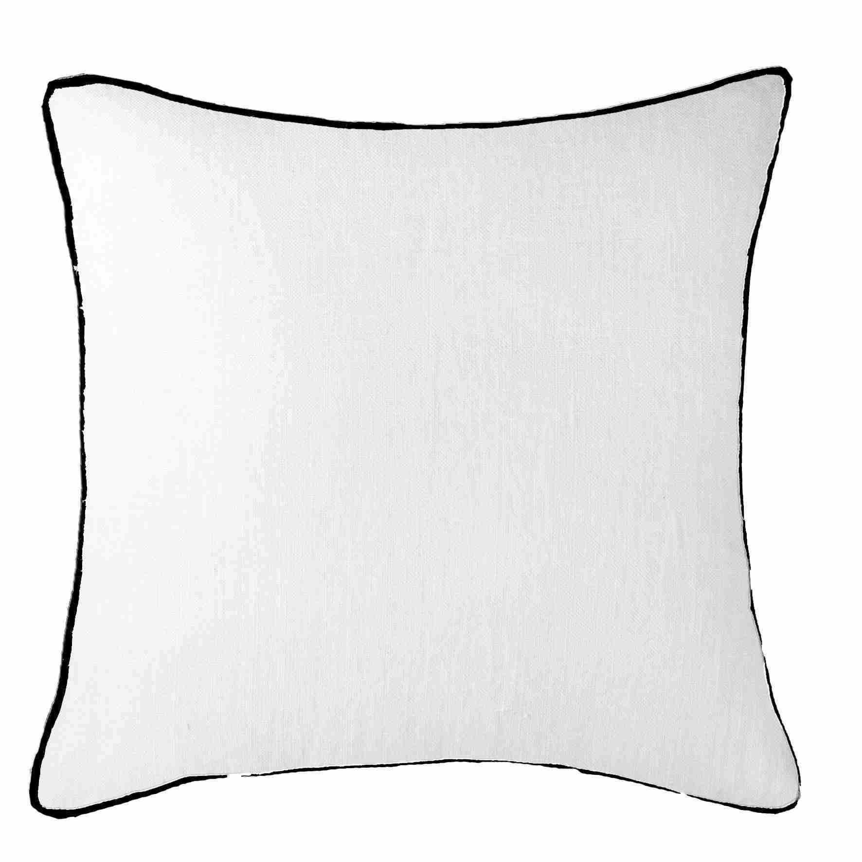 Bandhini Homewear Design Lounge Cushion White / 22 x 22 Piped Linen White with Black Piping Lounge Cushion 55 x 55 cm