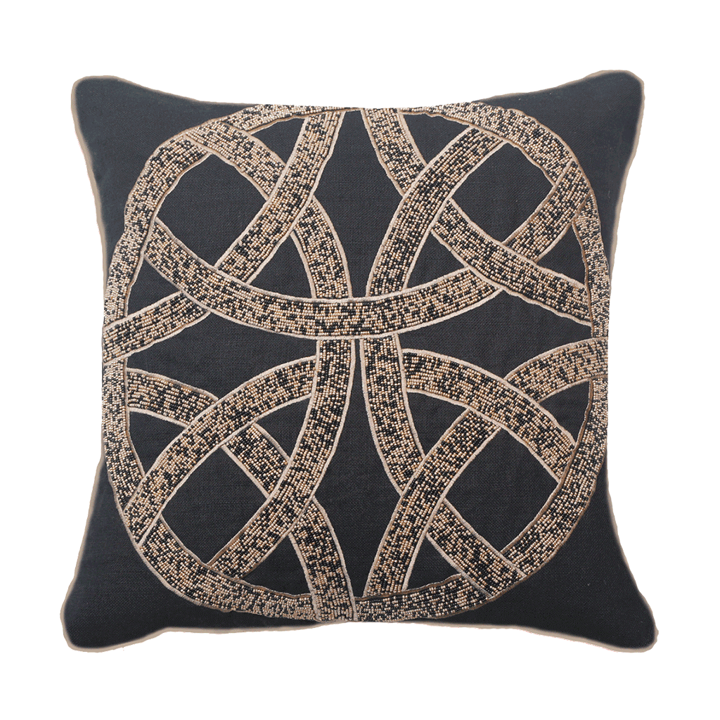Bandhini Homewear Design Medium Cushion Black / Exotic Dark / 18 x 18 Chanel Black Medium Cushion 50x50cm