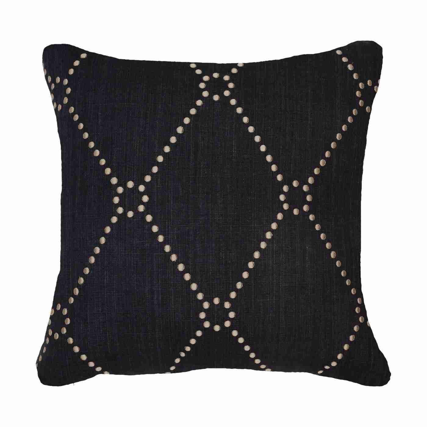 Bandhini Homewear Design Medium Cushion Black / 19 x 19 Dot Diamond Black Medium 50 x 50 cm