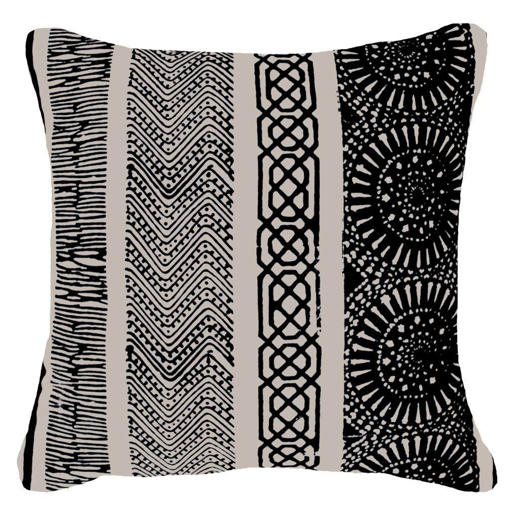 Bandhini Homewear Design Medium Cushion Black / Primitive / 20 x 20 Paths Black Medium Cushion 50 x 50 cm