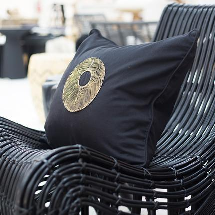 Bandhini Homewear Design Medium Cushion Earth Black / 18 x 18 Disc Copper Black Medium Cushion 50 x 50 cm