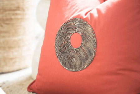 Bandhini Homewear Design Medium Cushion Fire / Aztec Fire / 20 x 20 Disc Copper Rust Medium Cushion 50x50cm