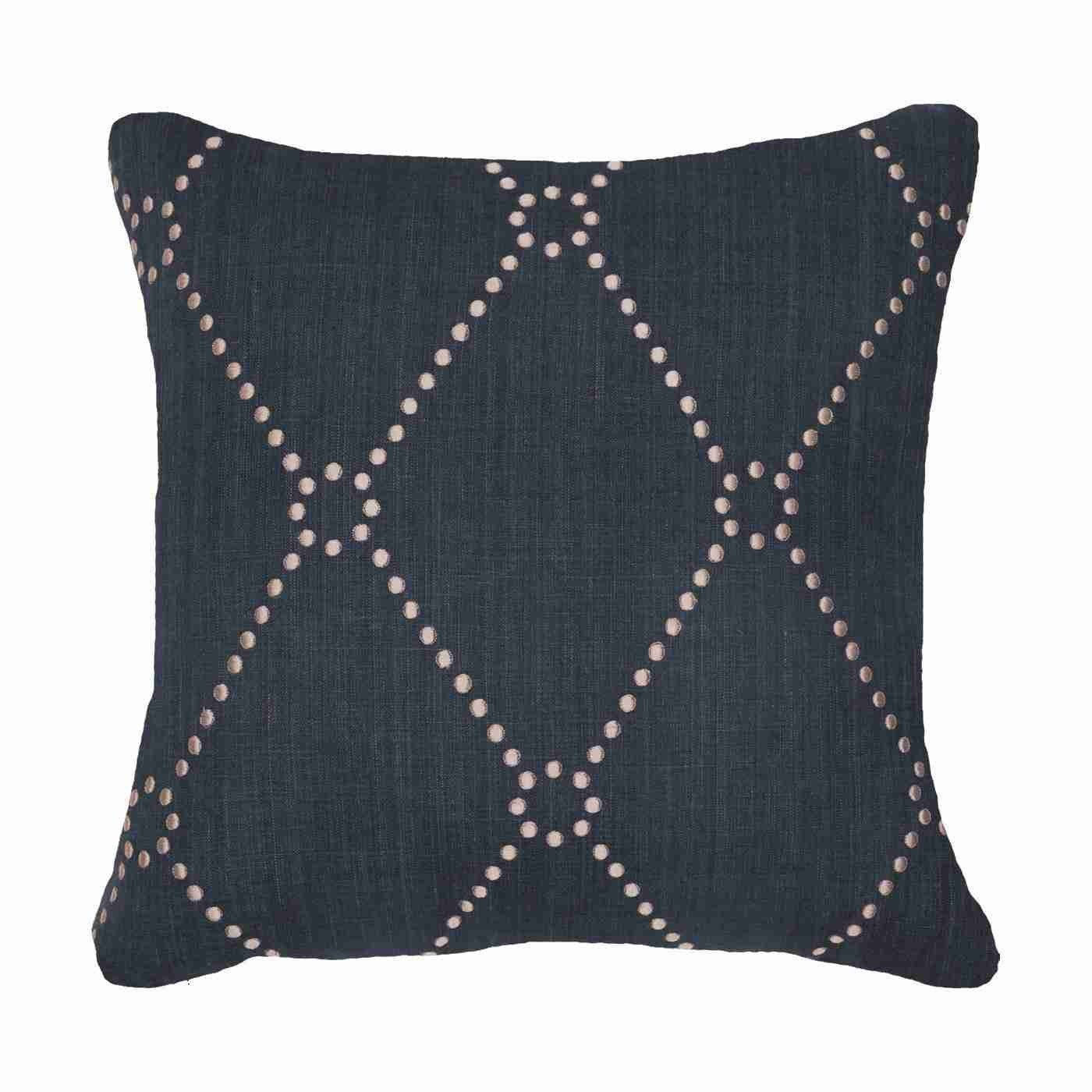 Bandhini Homewear Design Medium Cushion Navy / 19 x 19 Dot Diamond Navy Medium Cushion 50x50cm