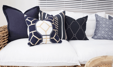 Bandhini Homewear Design Medium Cushion Navy / Naval Sea / 19 x 19 Dot Diamond Navy Medium Cushion 50x50cm
