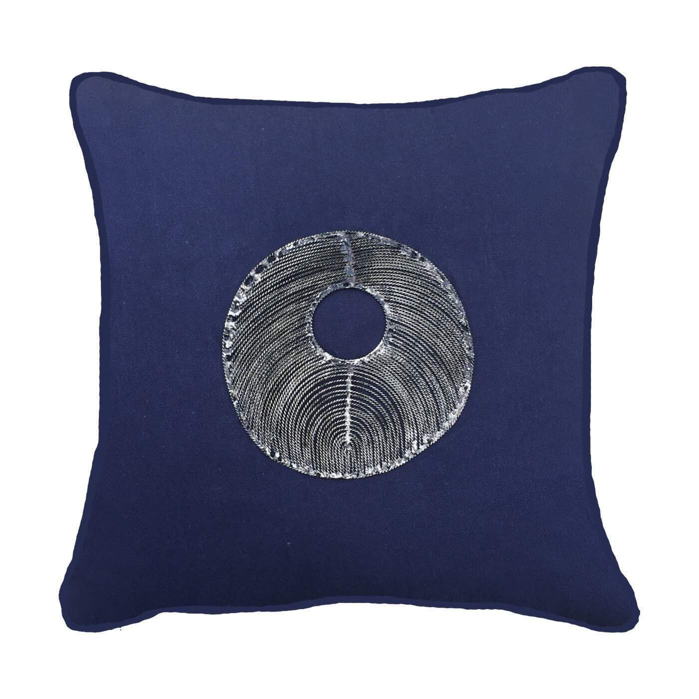 Bandhini Homewear Design Medium Cushion Navy / Naval Sea / 20 x 20 Disc Silver Navy Medium Cushion 50 x 50 cm
