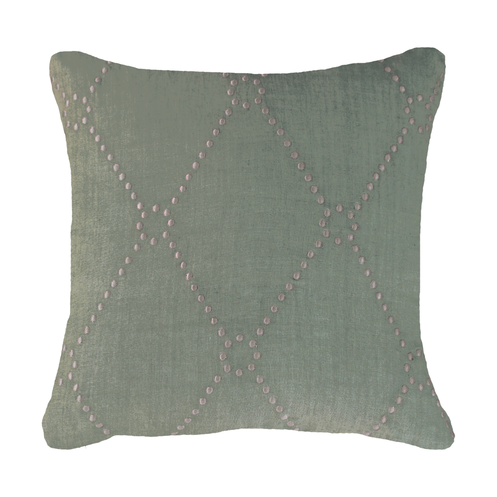 Bandhini Homewear Design Medium Cushion Sage / Naval Sea / 19 x 19 Dot Diamond Sage Medium Cushion 50x50cm