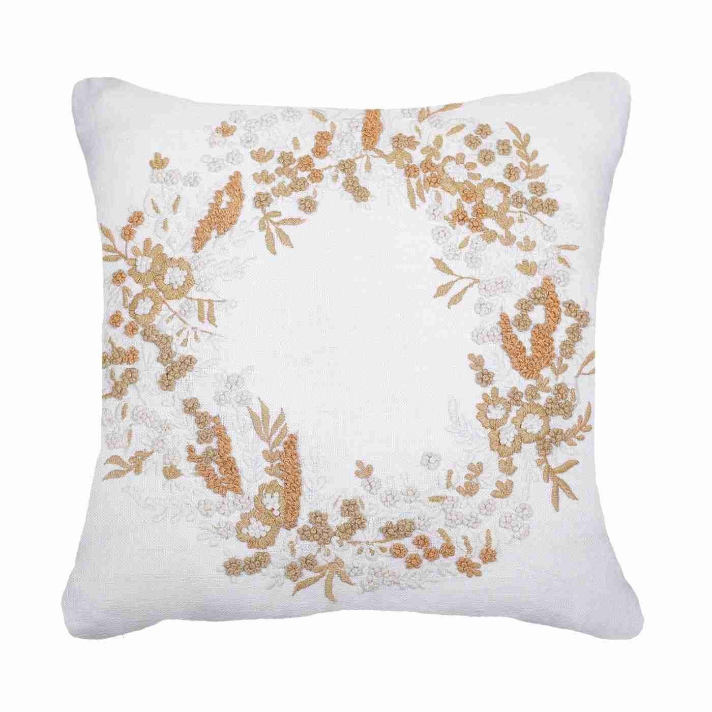 Bandhini Homewear Design Medium Cushion White Gold / Exotic Light / 19 x 19 Gold Wreath Linen Medium Cushion 50x50cm