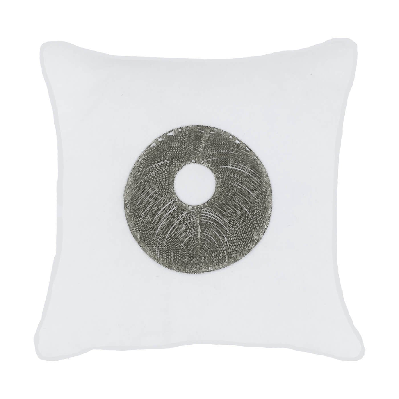 Bandhini Homewear Design Medium Cushion Wind / Exotic Light / 20 x 20 Disc Silver White Medium Cushion 50x50cm