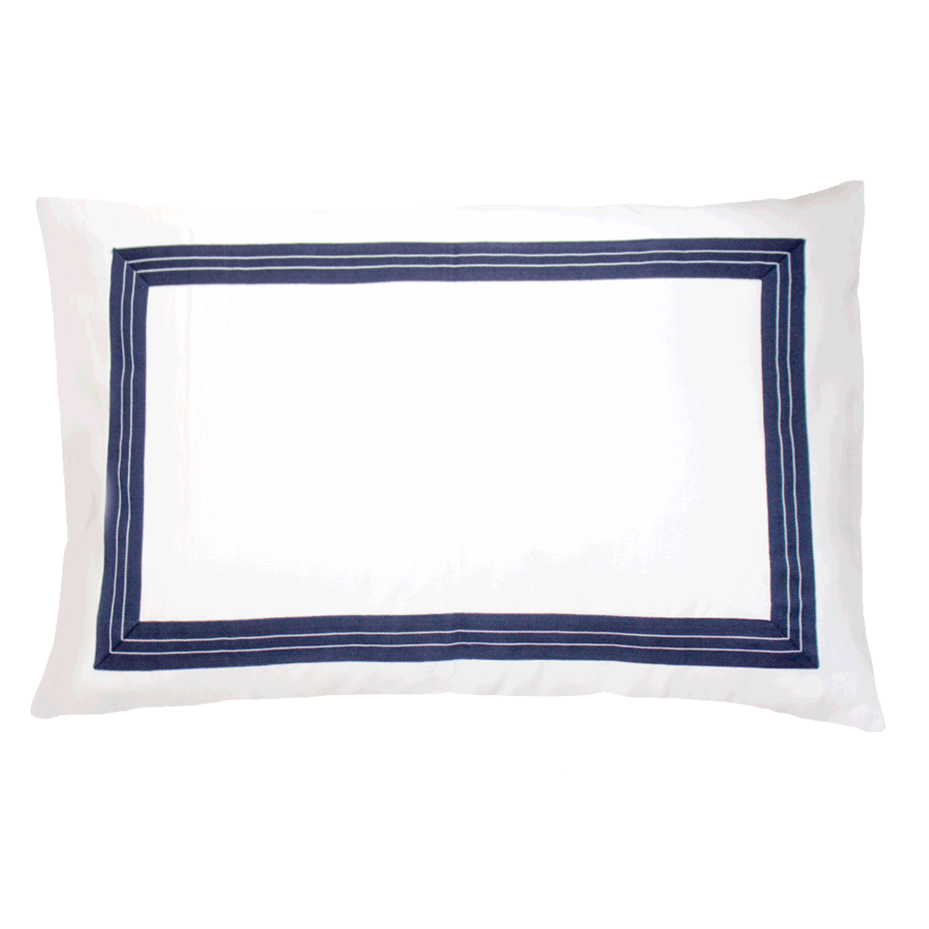 Bandhini Homewear Design Sham Cushion White Navy / Naval Sea / 18 x 27 Braid Denim Navy Sham Cushion 46x69cm
