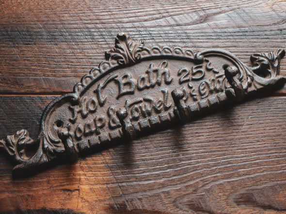Hot Bath Sign/Towel, Bath Robe, or Key Hook