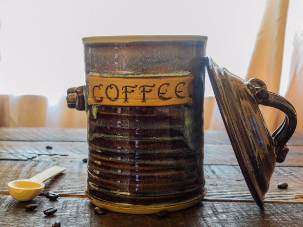 Coffee Canister with Wooden Scoop