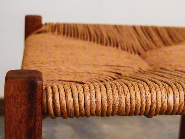 Handmade Rushed Oak Dining Stool - Woven Seat, Chair