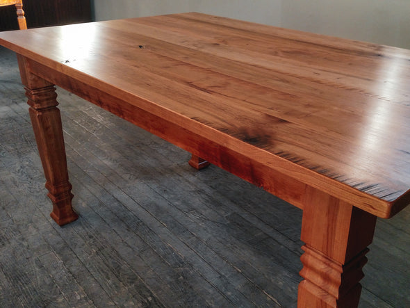 The Cherry Wood Harvest Table by Sugar Mountain Woodworks, Solid Cherry Hardwood Farm House Dining