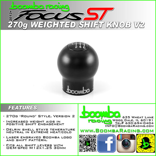 Boomba Racing Round Engraved Shift Knob 270g-V2 Focus ST 2013+/Fiesta ST 2014+