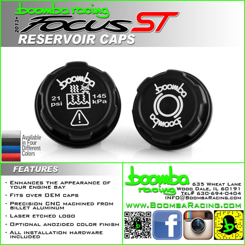 Boomba Racing Brake Fluid Reservoir/Coolant Tank Reservoir Cap Covers Focus ST 2013+