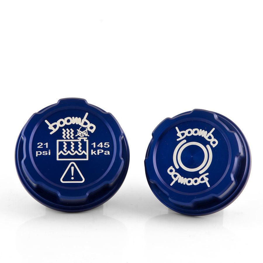 Boomba Racing Brake Fluid Coolant Tank Cap Covers BLUE for 2013 Ford Focus ST