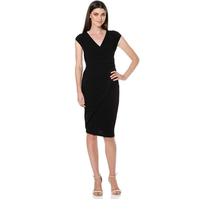 Sacha Drake Faux Wrap Cap Sleeve V-Neck Dress