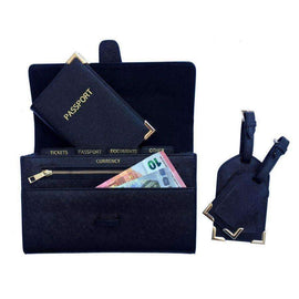 CBT Saffiano Leather Travel Wallet Set - Monogrammed