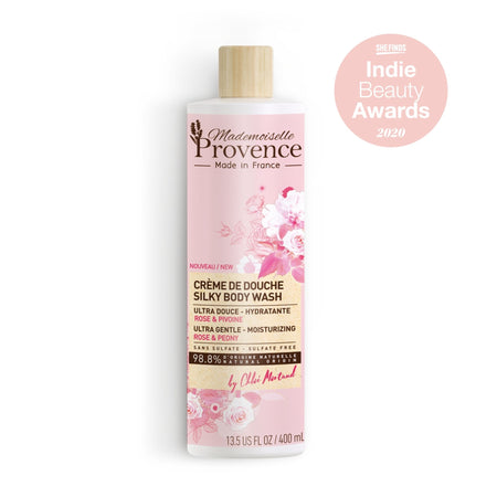 Mademoiselle Provence Rose and Peony Ultra hydrating and gentle moisturizing body wash. 98.8% natural . Made in France natural body wash.