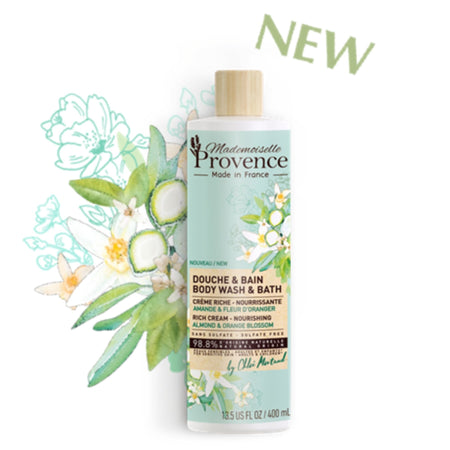 Mademoiselle Provence Almond and Orange Blossom Natural Body Wash and Bath Nourishing rich cream. 98.8% Natural. Sulfate Free. For sensitive skin. Photo of front of bottle. New!