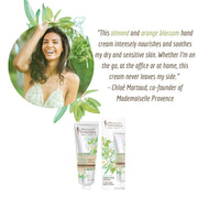 Mademoiselle Provence Chloe Mortaud quote on Almond and Orange Blossom hand lotion. Former Miss France beauty secrets. Instantly nourishing and soothing body lotion great for sensitive skin for mom and kids.
