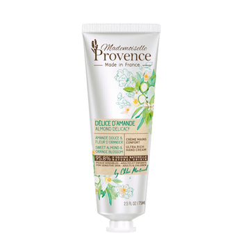 Mademoiselle Provence Almond and Orange Blossom Hand Lotion made for sensitive skin. Natural nourishing and soothing hand lotion made in France by Miss France 2009. 95.8% Natural. Helps soothe, restore, and heal dry or sensitive skin.