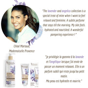 Beauty Queen, Chloe Mortaud, Miss France 2009 comments on Mademoiselle Provence Lavender and Angelica hand lotion. Loves to use this hand cream for a relaxing mom moment. Quote in French and in English.
