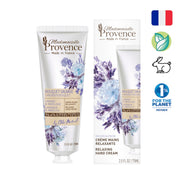 Mademoiselle Provence Relaxing Lavender and Angelica Hand Cream. Natural Hand cream made with lavender and angelica extracts. Made in France Hand lotion. Photo of tube and box. Made-In-France, Natural, Vegan, Cruelty-Free, Members of 1% For the Planet.