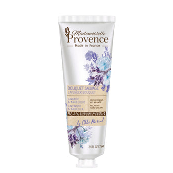 Mademoiselle Provence Relaxing Lavender and Angelica Hand Cream. Natural Hand cream made with lavender and angelica extracts. Made in France Hand Cream. Photo of tube.