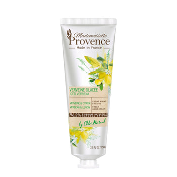 fresh Mademoiselle Provence Lemon and Verbena refreshing and revitalizing hand lotion for an illuminating glow. Front of bottle. Made in France body lotion with natural ingredients.