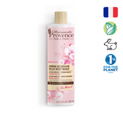Mademoiselle PRovence Rose and Peony Silky soft body wash made in france with natural ingredients, cruelty-free, vegan, and one percent for planet member.