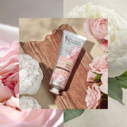 Mademoiselle Provence radiating and illuminating rose and peony hand lotion. French natural hand lotion made with shea butter and glycerin to nourish and moisturize your hands. Made in France, natural, cruelty-free, vegan hand cream.