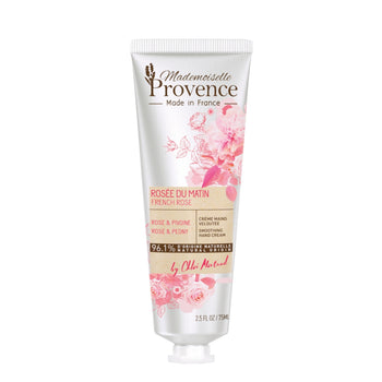 Mademoiselle Provence Natural Illuminating and Radiating Rose and Peony Hand Cream. French natural hand cream. Photo of tube. Made in France, vegan and cruelty-free.