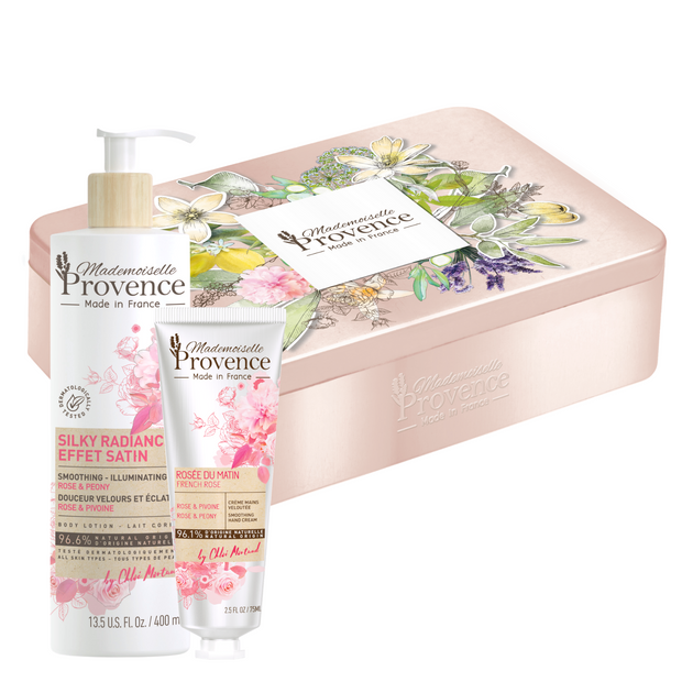 Gift box from Provence contains natural body lotion and hand cream enriched with rose and peony to keep your wkin and hands hydrated, glowing and moisturized everyday. Perfect to offer for Mothers's Day - Mademoiselle Provence