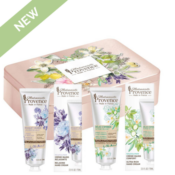 NEW! Duo Hand Creams Tin Gift Set Almond-Orange Blossom & Lavender-Angelica