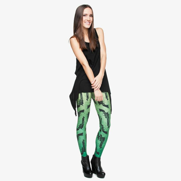 GREEN GUNS LEGGINGS, Leggings, Think Bazaar