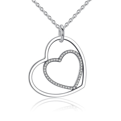 Sterling Silver Heart To Heart Pendant Necklace Clear CZ, Jewelry, Think Bazaar