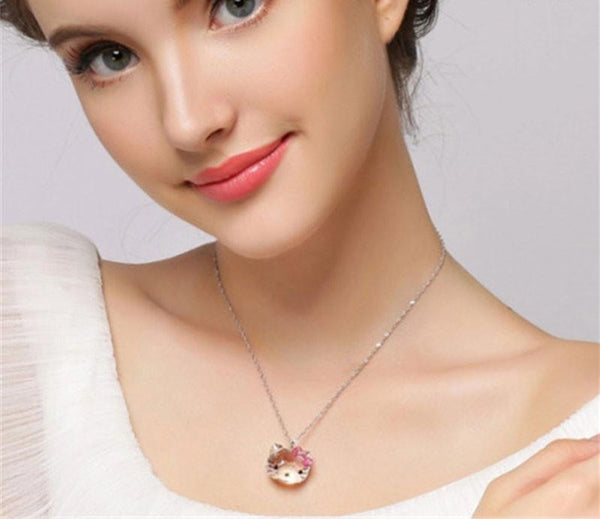 Cute Hello Kitty Necklace with Swarovski Crystals, Jewelry, Think Bazaar