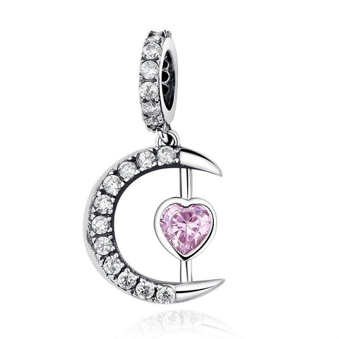 Sterling Silver Pink Moon Heart Charm, Jewelry, Think Bazaar