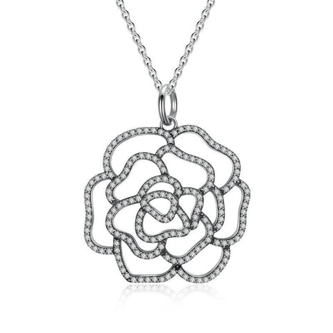 Sterling Silver Shimmering Rose Pendant Necklace Clear CZ, Necklaces, Think Bazaar