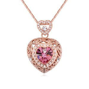 Hollow Heart Necklace with Swarovski Crystals, Jewelry, Think Bazaar