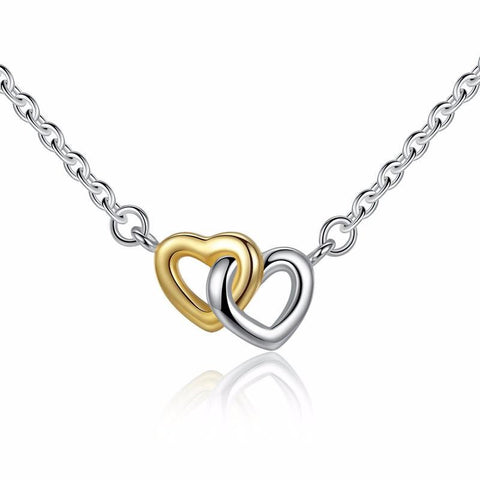 Sterling Silver Two Tone United in Love Heart Necklace, Necklaces, Think Bazaar